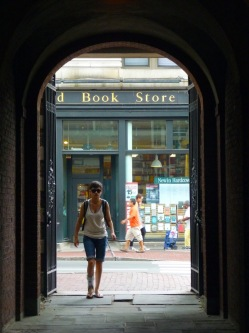 The Harvard Book Store from inside Harvard Yard, Cambridge, MA, summer 2013.