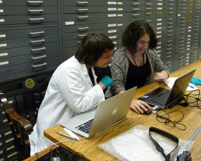 Entering salted paper print condition survey data into project database with fellow Weissman Preservation Center photograph conservation intern.